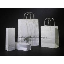Bolsa de papel Kraft y bolsa de compras con mango de papel