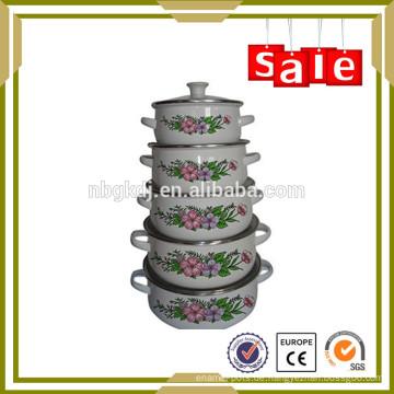 5pc Emailleware Pinnacle Kasserolle für Lebensmittel Stroage