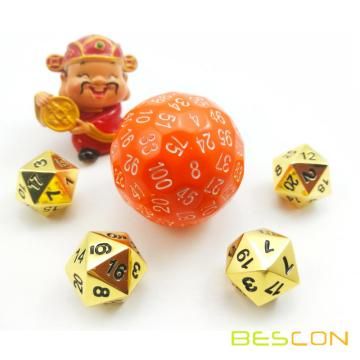 Bescon Polyhedral Dice 100 Sides Würfel, D100 sterben, 100 Sided Cube, D100 Game Dice, 100-Sided Cube von Orange Color