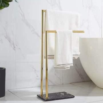 Bathroom luxury marble European-style floor-to-ceiling double-bar towel bar hanger Double-layer countertop bath towel rack pendant