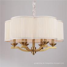 Messing Farbe Eisen Anhänger Lampe mit Stoff Schatten (SL2060-6)