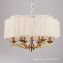 Brass Color Iron Pendant Lamp with Fabric Shade (SL2060-6)