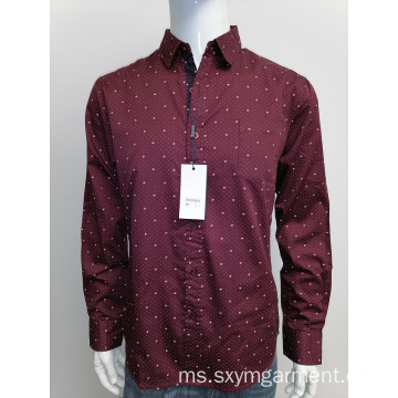 Mens satin cotton print baju lengan panjang