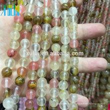 Grânulos de pedra preciosa de zircônia cúbica de quartzo natural Mix de cereja para pulseira