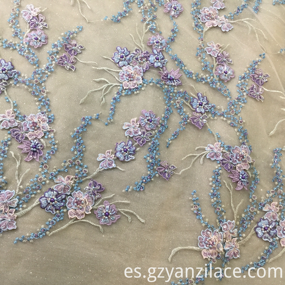 Purple Handmade Beaded Crystal Lace Fabric