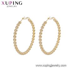 93135 Wholesale elegant ladies jewelry fancy type Korean design beads gold hoop earrings