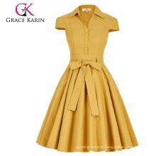 Grace Karin Cap Sleeve Shirt Retro Vintage Style Collar High Stretchy 1950s Cheap Vintage Dress CL010408-2