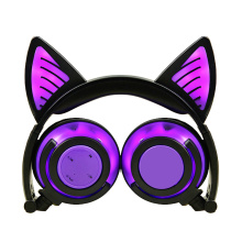 Auriculares coloridos estereofónicos sem fio da luz do diodo emissor de luz da orelha de gato