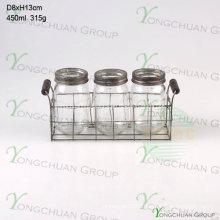 Set of 3 PCS Glass Mason Jar with Metal Stand Flatware Stand