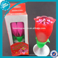 + 0086-18233103825 fábrica feliz cumpleaños música rosa flor girar vela