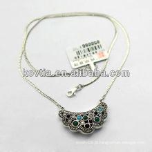 Mulheres antigos bloqueio pingente de jóias 925 colar de prata esterlina
