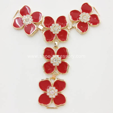 Sandal Embellishment with Five Flowers Link for T-Strap Sandal