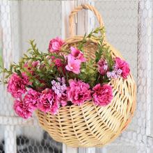 Hot selling round durable wicker rattan flower basket flower pot garden hanging flower baskets for home decoration