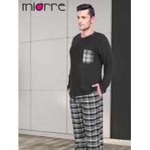 Miorre Hombres de manga larga de manga larga textura suave Plaid Pattern pijamas Set