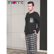 Miorre Wholesale Men's Long Sleeve Soft Texture Plaid Pattern Pajamas Set