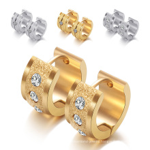 Gold Diamond Titanium Steel Scrub Stainless Steel Personality Ear Studs Earrings