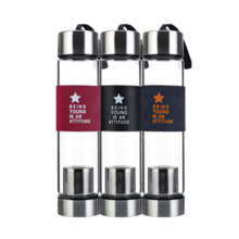 color borosilicate glass water bottle with tea infuser glass stainless water bottles with band