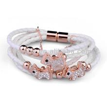 Bracelet en cuir blanche à fermoir magnétique en gros NH00781