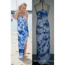 T-Back Tie Dye Frauen Mode Long Beach Maxi Kleid