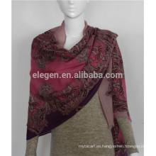 Lana mercerizada lana rosa-bufandas teñidas chal se robó