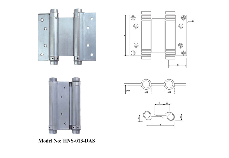 Stainless Steel Double Action Spring Hinges A