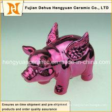 Прекрасная розовая керамическая свинья Piggy Bank для домашнего украшения