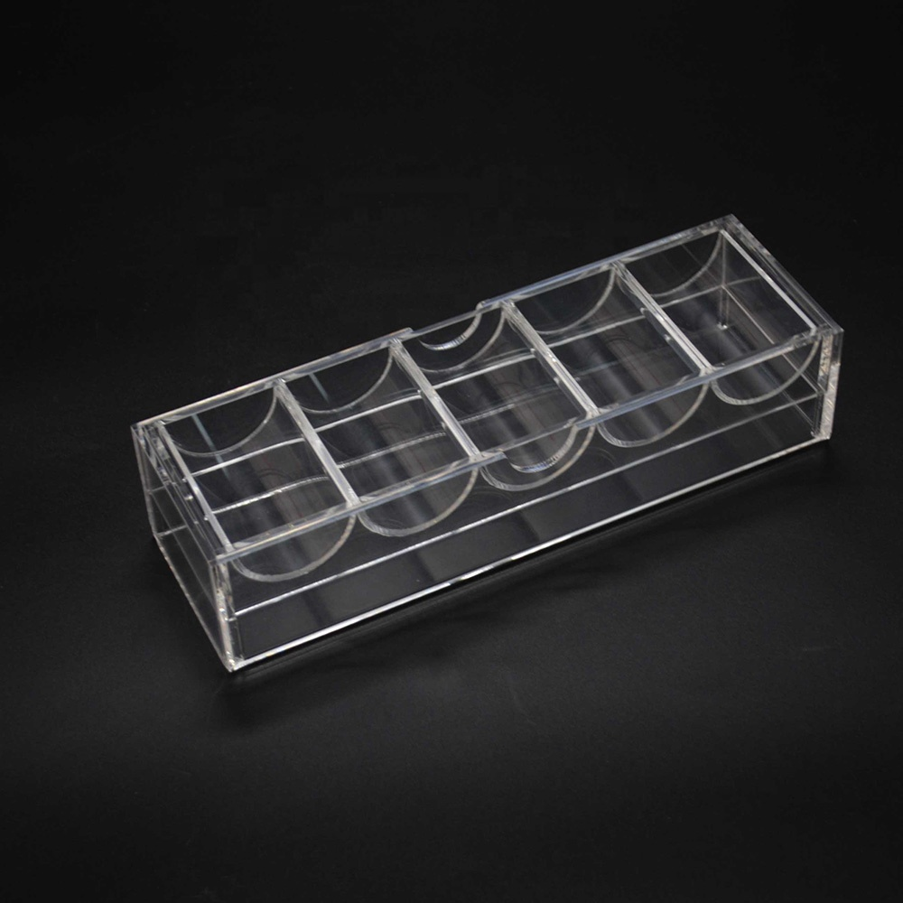 Clear Acrylic Poker Chip Rack And Cover 5 Row