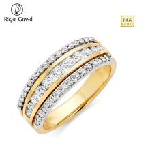 Acero inoxidable de la manera CZ Crystal Clay pavimentado oro IP chapado anillo de la eternidad de la boda