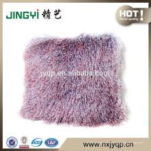 Schnelles Verkaufs-langes Haar-lockiges mongolisches Pelz-Kissen