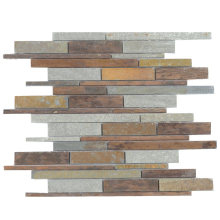 Classic Style Sheet Copper Stone Natural Slate Mosaic Tiles