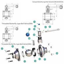 Válvula de bola sanitaria de mariposa de acero inoxidable (RS)