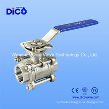 3PC M3 Stainless Steel Ball Valve with Mounting Pad