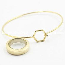 Aço inoxidável 316L chapeamento bracelete de ouro com medalhão