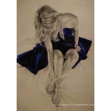 Hand-made Nude Painting Photo sur toile pour décoration à la maison (EBF-112)