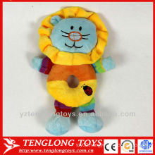 2014 extra soft short plush lion toy with bell for baby