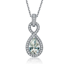 Wholesale Pear Shape Synthetic Diamond Pendant 925 Sterling Silver Jewelry