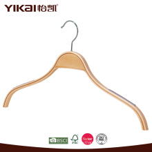 Wholesale skirt laminated wooden hanger with rubber teeth