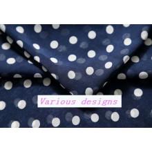 Fashionable Polk DOT Printed Polyester Chiffon Dress Fabric