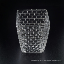 High End Square Candle Vessel with Embossed Pattern