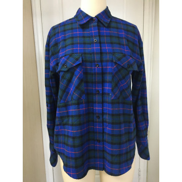 Damen Navy Plaid Langarmhemd