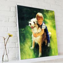 Little Boy Spiel mit Hund Ölmalerei auf Leinwand