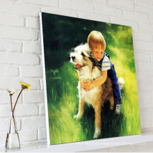Little Boy Play with Dog Oil Painting on Canvas