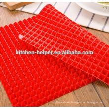 Non-stick Non-toxic Silicone Pyramid Baking Mat Hoja de la bandeja del horno de reducción de grasa