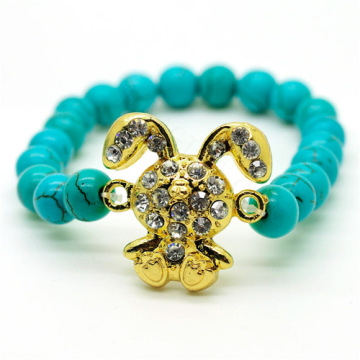 Turquoise 8MM Round Beads Stretch Gemstone Bracelet with Diamante alloy rabbit Piece