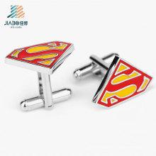 Punho de botão feito sob encomenda do superman do esmalte livre da liga da venda por atacado do projeto para a promoção
