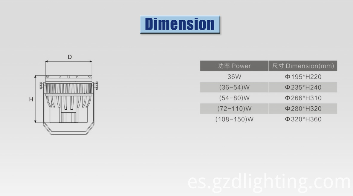led projector lights dimension