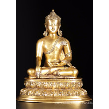 Antique golden life size thai bronze buddha statue