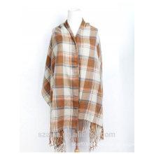 Ladies plaid winter poncho shawl