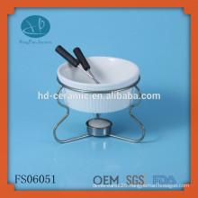 hot sale mini chocolate fondue set,round ceramic fondue bowl with iron stand