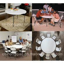 Table ronde pliante en plastique, table ronde pliante pliante pliante pliante à 5 pieds, demi table / tablette ronde pliante ronde de 5 pieds, table demi lune pliante extérieure